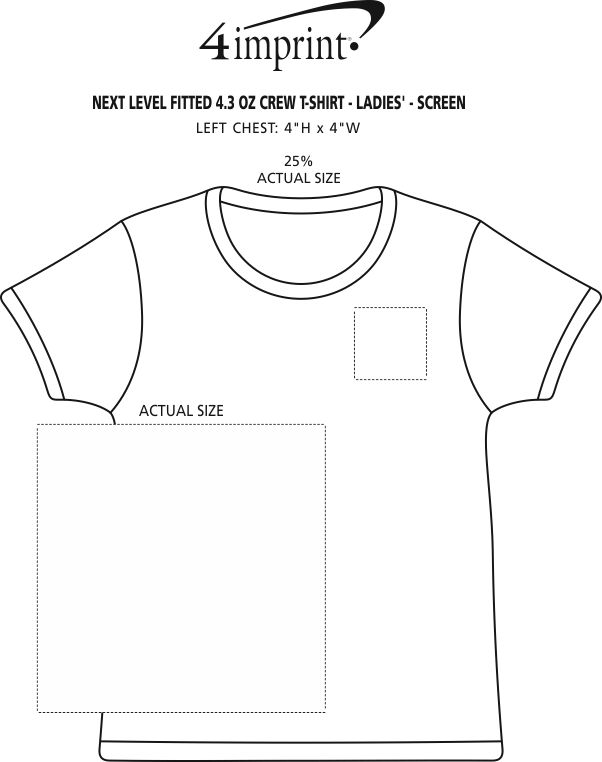 Imprint Area of Next Level Fitted 4.3 oz. Crew T-Shirt - Ladies' - Screen