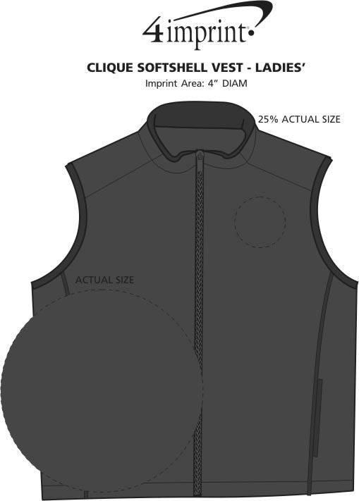 Imprint Area of Clique Soft Shell Vest - Ladies'