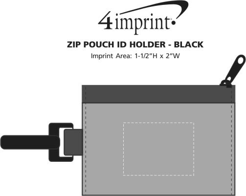 Imprint Area of Zip Pouch ID Holder - Black