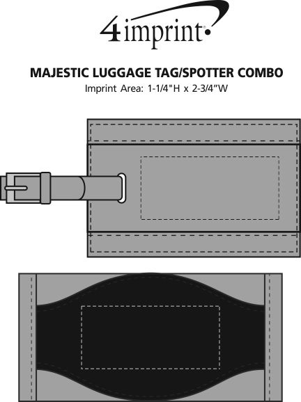Imprint Area of Majestic Luggage Tag/Spotter Combo