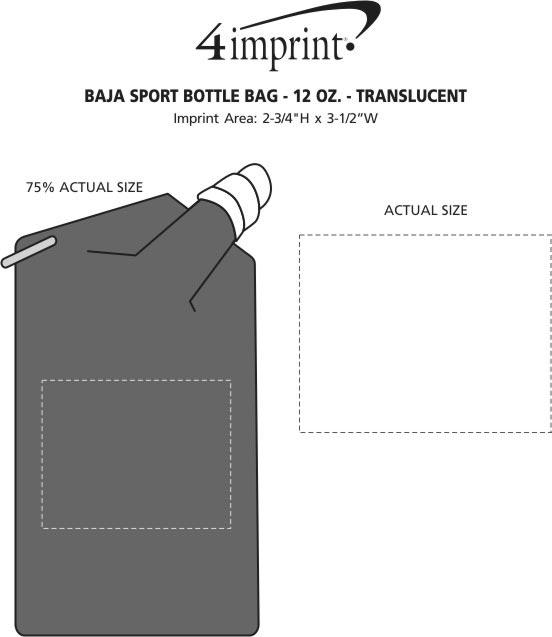 Imprint Area of Baja Sport Bottle Bag - 12 oz. - Translucent