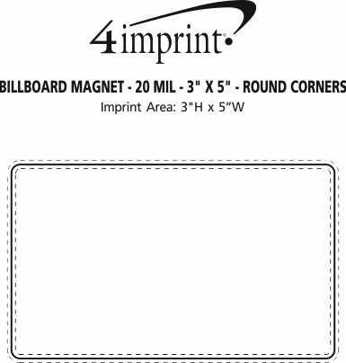 "Imprint Area of Billboard Magnet - 20 mil - 3"" x 5"" - Round Corners"