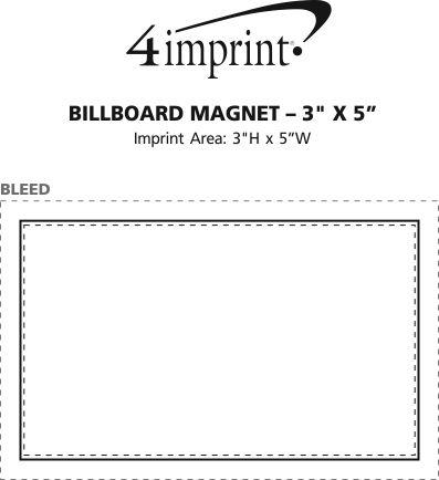 "Imprint Area of Billboard Magnet - 20 mil - 3"" x 5"""