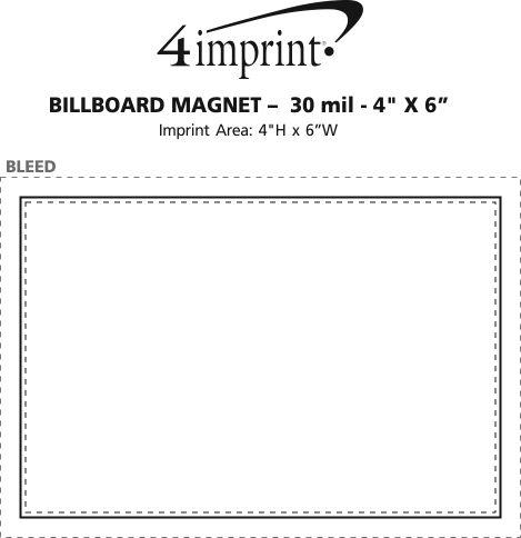 "Imprint Area of Billboard Magnet - 30 mil - 4"" x 6"""