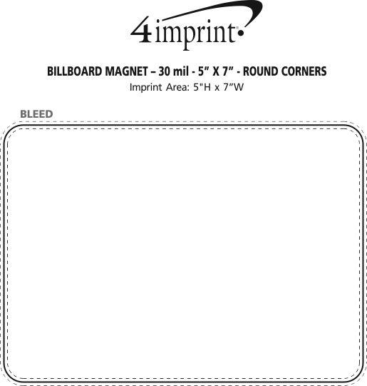 "Imprint Area of Billboard Magnet - 30 mil - 5"" x 7"" - Round Corners"