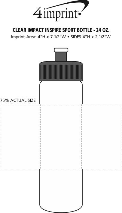 Imprint Area of PolySure Inspire Water Bottle - 24 oz. - Clear