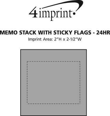 Imprint Area of Memo Stack with Sticky Flags - 24 hr