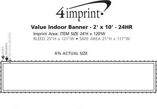 Imprint Area of Value Indoor Banner - 2' x 10' - 24 hr