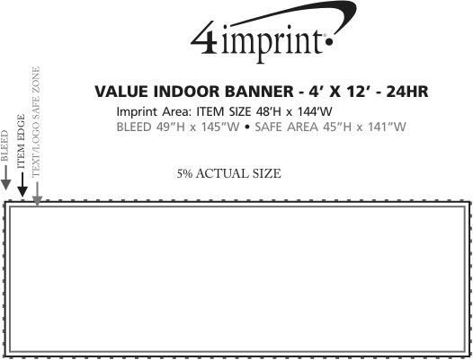 Imprint Area of Value Indoor Banner - 4' x 12' - 24 hr