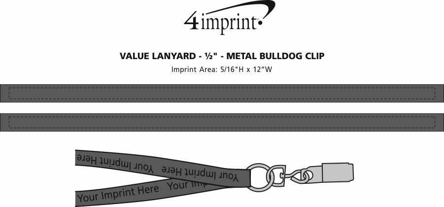 "Imprint Area of Value Lanyard - 1/2"" - Metal Bulldog Clip"