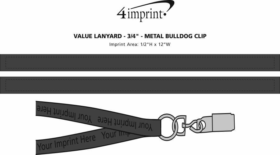 "Imprint Area of Value Lanyard - 3/4"" - Metal Bulldog Clip"