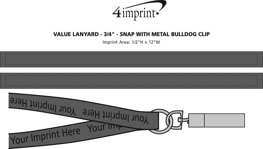 "Imprint Area of Value Lanyard - 3/4"" - Snap with Metal Bulldog Clip"