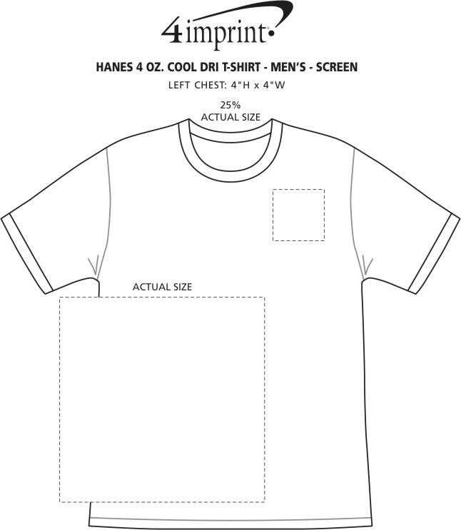 Imprint Area of Hanes 4 oz. Cool Dri T-Shirt - Men's - Screen