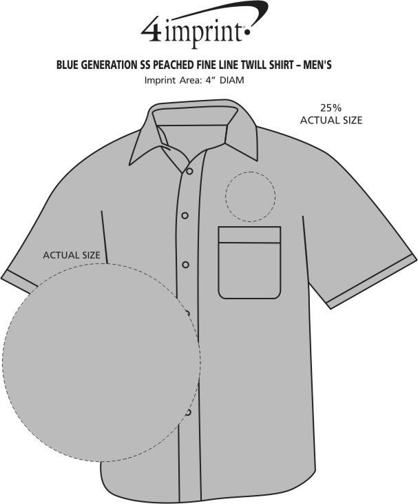 Imprint Area of Peached Fine Line Short Sleeve Twill Shirt - Men's