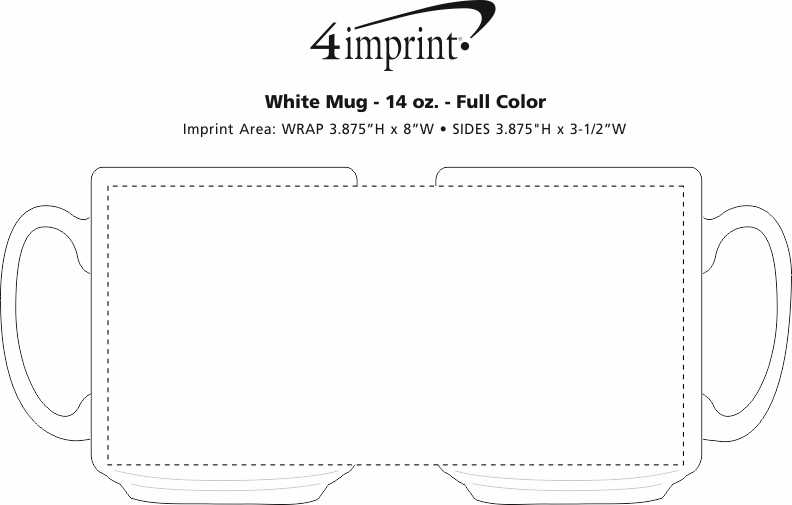 Imprint Area of Value White Coffee Mug - 14 oz. - Full Color