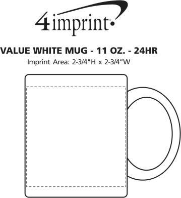 Imprint Area of Value White Coffee Mug - 11 oz. - 24 hr