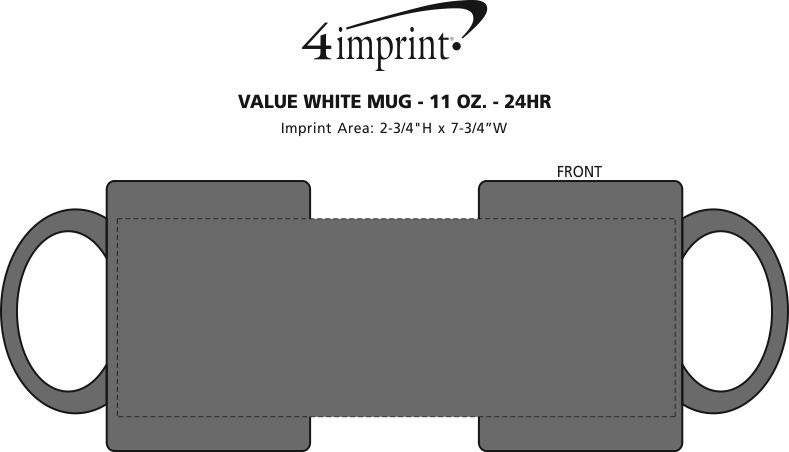 Imprint Area of Value Color Coffee Mug - 11 oz. - 24 hr