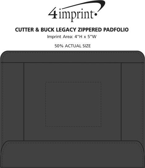 Imprint Area of Cutter & Buck Legacy Zippered Padfolio