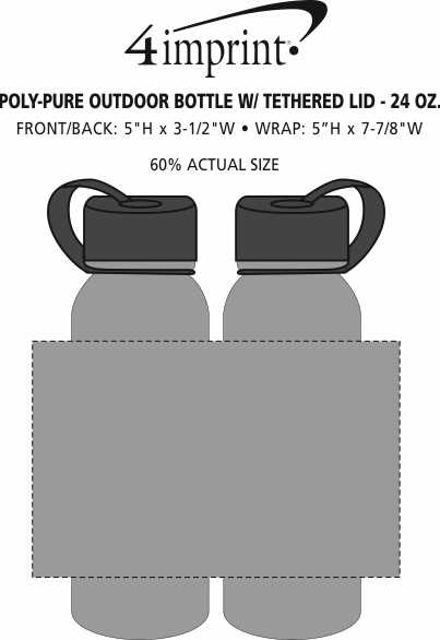 Imprint Area of Outdoor Bottle with Tethered Lid - 24 oz.