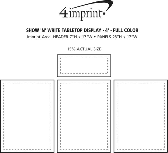 Imprint Area of Show N Write Tabletop Display - 4' - Full Color