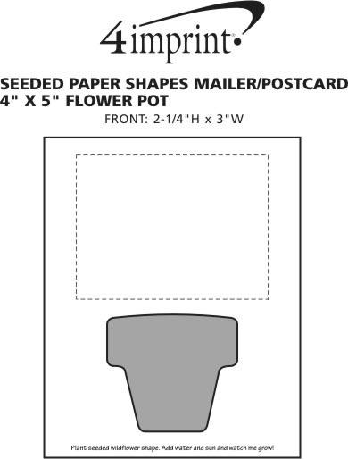 "Imprint Area of Seeded Paper Shapes Mailer/Postcard - 4"" x 5"" Flower Pot"