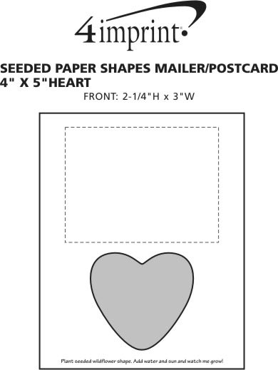 """Imprint Area of Seeded Paper Shapes Mailer/Postcard - 4"""" x 5"""" Heart"""
