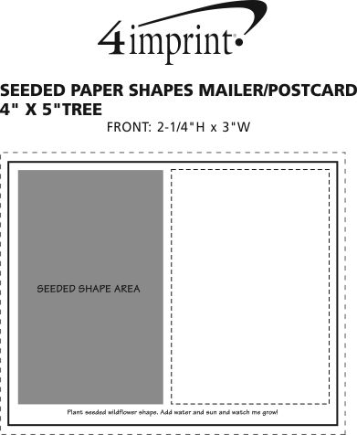 """Imprint Area of Seeded Paper Shapes Mailer/Postcard - 4"""" x 5"""" Tree"""