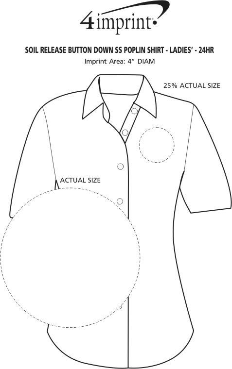 Imprint Area of Soil Release Button Down SS Poplin Shirt - Ladies' - 24 hr
