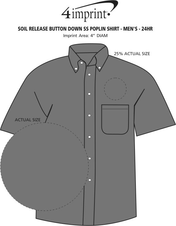 Imprint Area of Soil Release Button Down SS Poplin Shirt - Men's - 24 hr