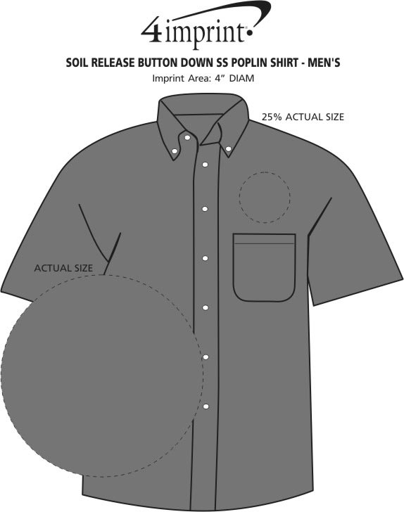 Imprint Area of Soil Release Button Down SS Poplin Shirt - Men's