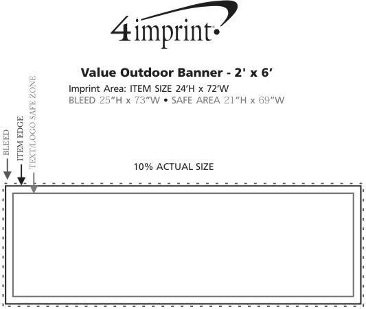 Imprint Area of Value Outdoor Banner - 2' x 6'