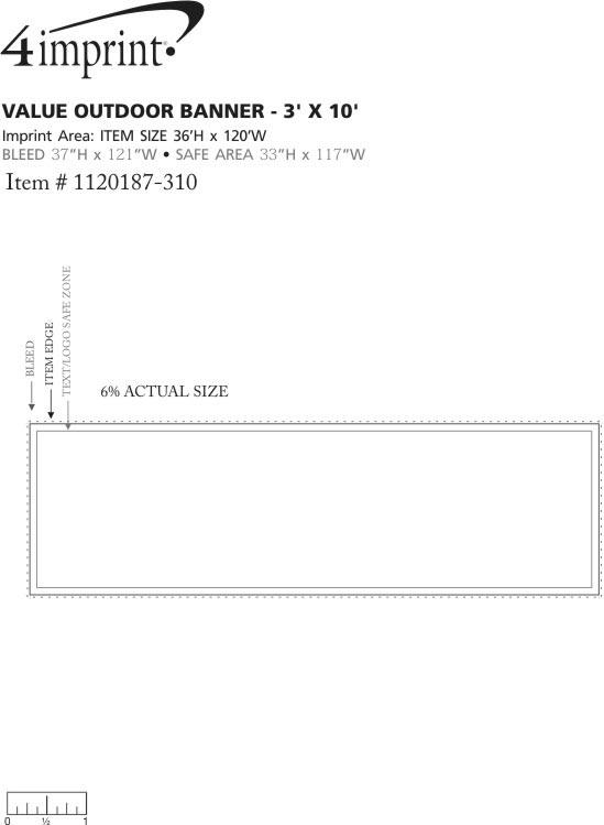 Imprint Area of Value Outdoor Banner - 3' x 10'