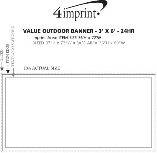 Imprint Area of Value Outdoor Banner - 3' x 6' - 24 hr