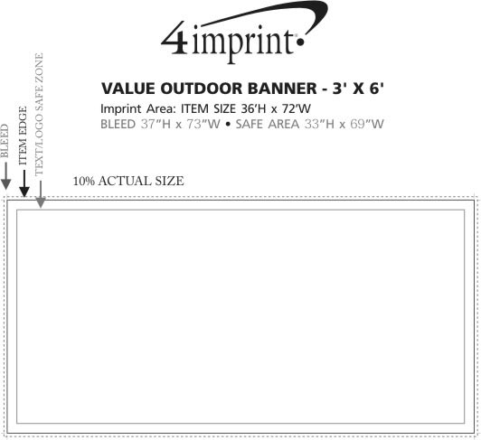 Imprint Area of Value Outdoor Banner - 3' x 6'