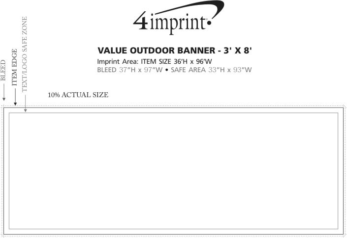 Imprint Area of Value Outdoor Banner - 3' x 8'