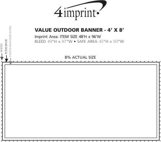 Imprint Area of Value Outdoor Banner - 4' x 8'