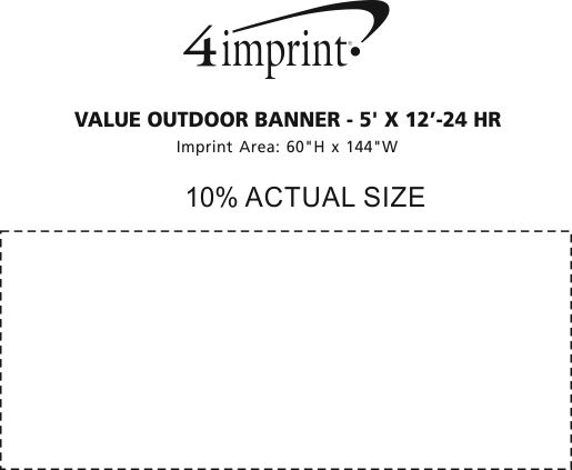 Imprint Area of Value Outdoor Banner - 5' x 12' - 24 hr