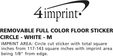Imprint Area of Removable Full Color Floor Sticker - Circle - White - M