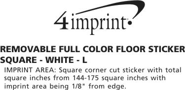 Imprint Area of Removable Full Color Floor Sticker - Square - White - L