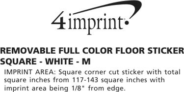 Imprint Area of Removable Full Color Floor Sticker - Square - White - M