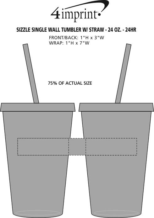 Imprint Area of Sizzle Single Wall Tumbler with Straw - 24 oz. - 24 hr