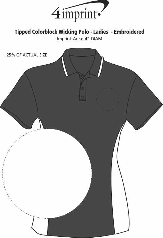 Imprint Area of Tipped Colorblock Wicking Polo - Ladies' - Embroidered