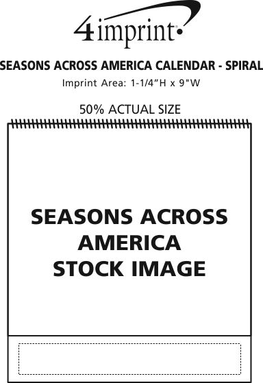 Imprint Area of Seasons Across America Calendar - Spiral