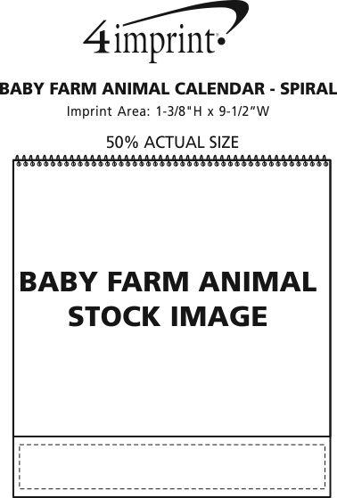 Imprint Area of Baby Farm Animals Calendar - Spiral