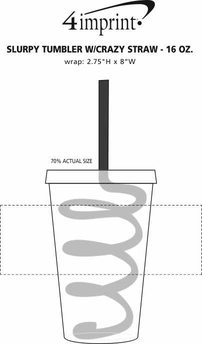 Imprint Area of Slurpy Tumbler with Crazy Straw - 16 oz.