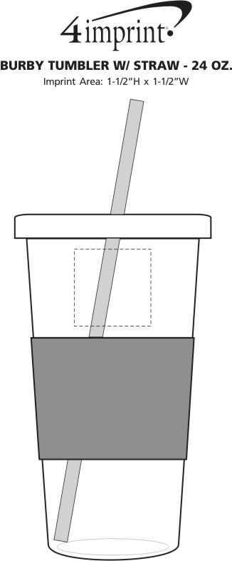 Imprint Area of Burby Tumbler with Straw - 24 oz.