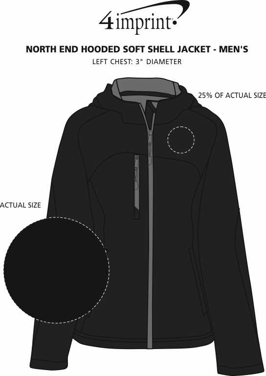 Imprint Area of North End Hooded Soft Shell Jacket - Men's