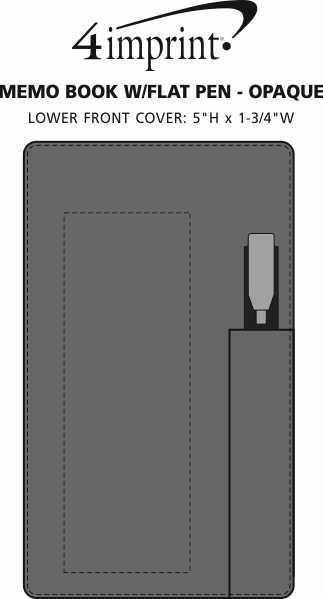 Imprint Area of Memo Book with Flat Pen - Opaque