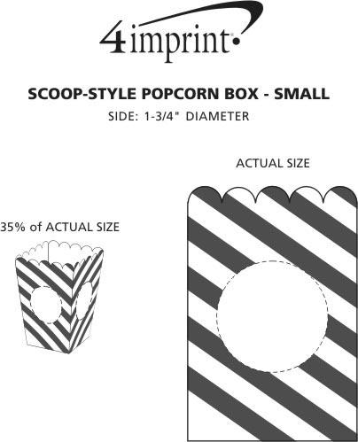 Imprint Area of Scoop-Style Popcorn Box - Small