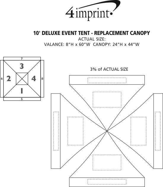 Imprint Area of Deluxe 10' Event Tent - Replacement Canopy